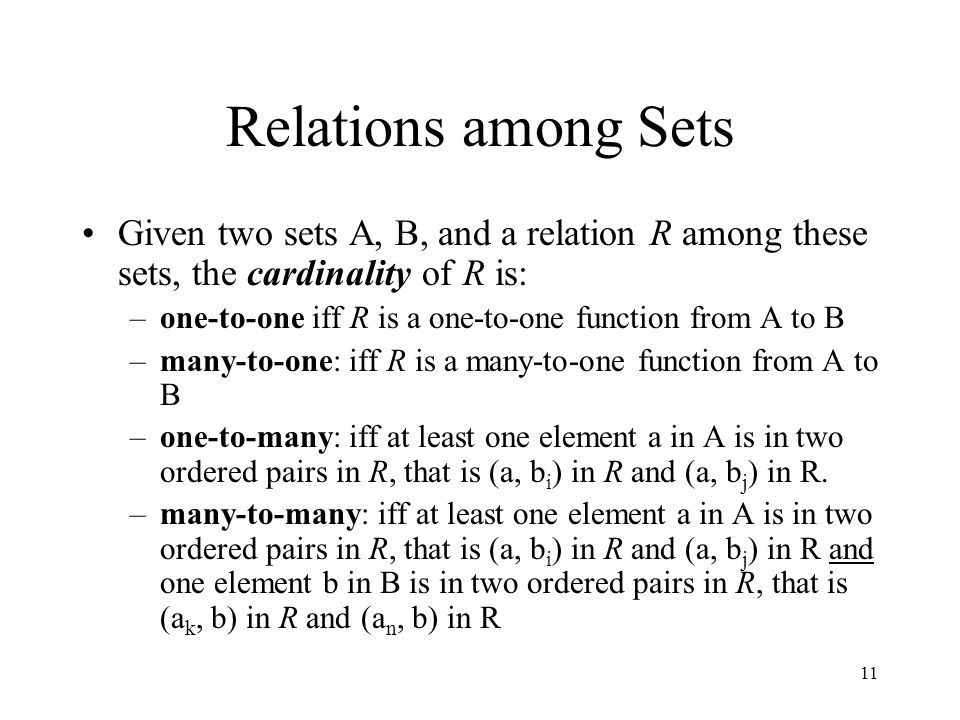 Relations among Sets Given two sets A, B, and a relation R among these sets, the cardinality of R is: