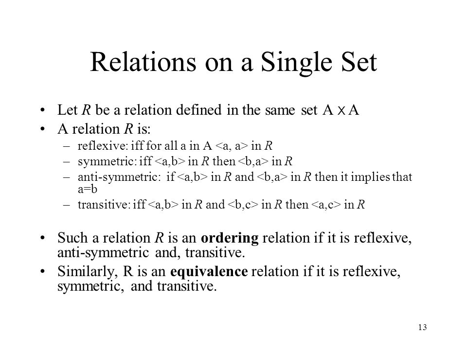Relations on a Single Set