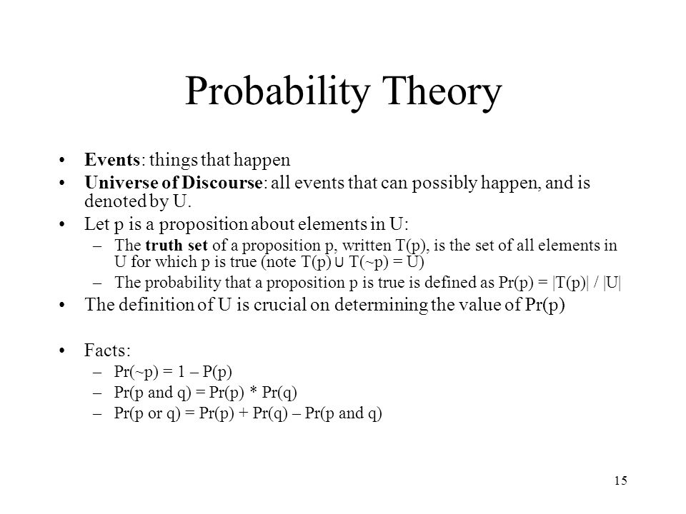 Probability Theory Events: things that happen