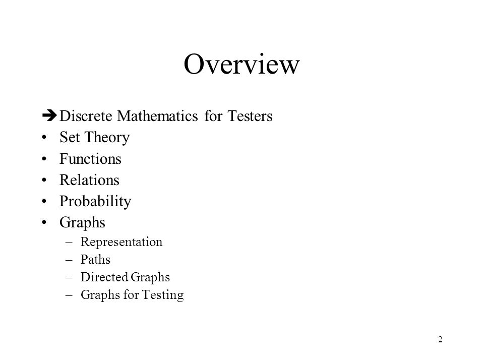 Overview Discrete Mathematics for Testers Set Theory Functions