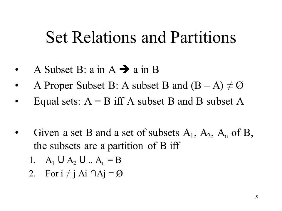 Set Relations and Partitions