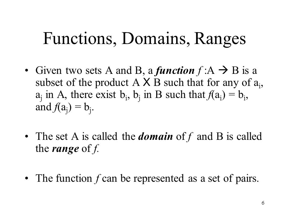 Functions, Domains, Ranges