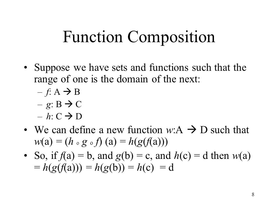 Function Composition Suppose we have sets and functions such that the range of one is the domain of the next:
