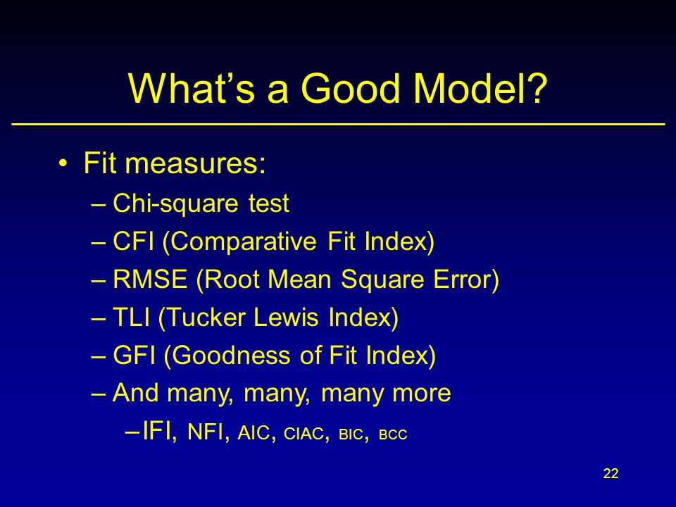 What's a Good Model Fit measures: Chi-square test