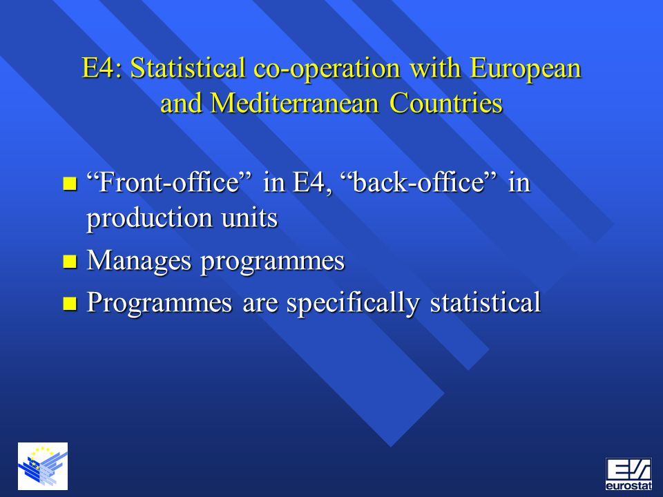 E4: Statistical co-operation with European and Mediterranean Countries