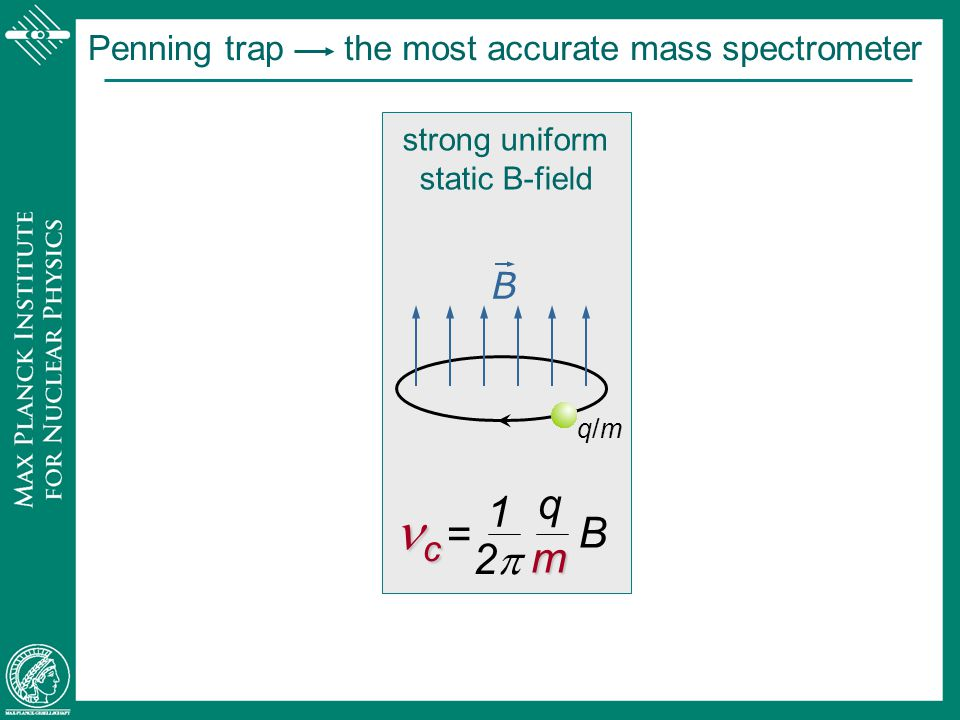 nc = q 1 2p m B Penning trap the most accurate mass spectrometer