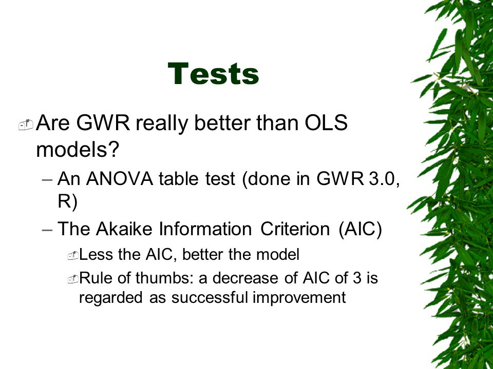 Tests Are GWR really better than OLS models