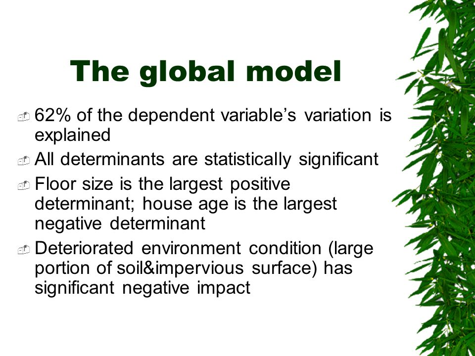 The global model 62% of the dependent variable's variation is explained. All determinants are statistically significant.