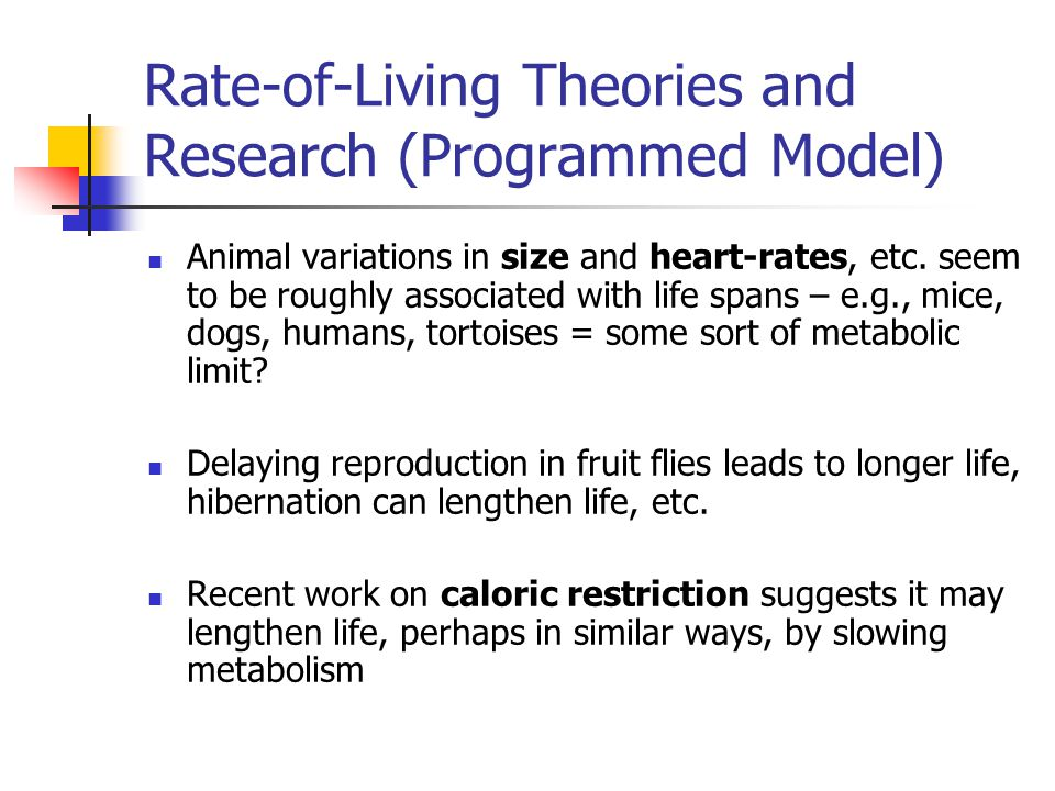 Rate-of-Living Theories and Research (Programmed Model)