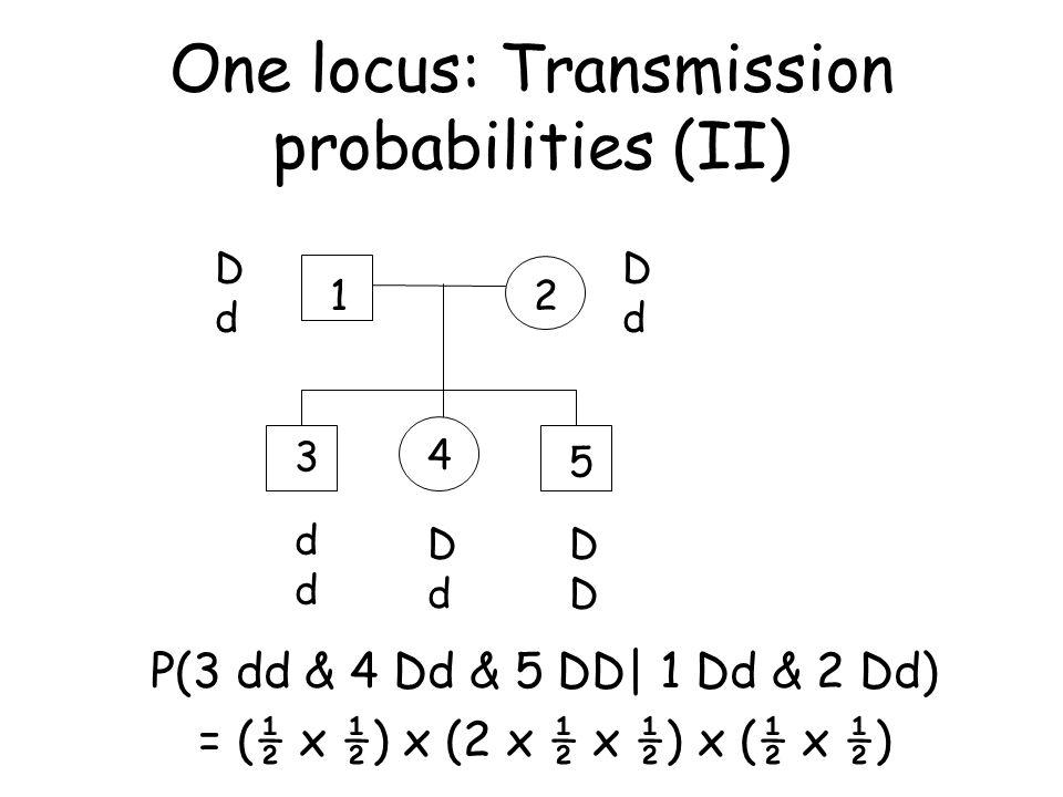 One locus: Transmission probabilities (II)
