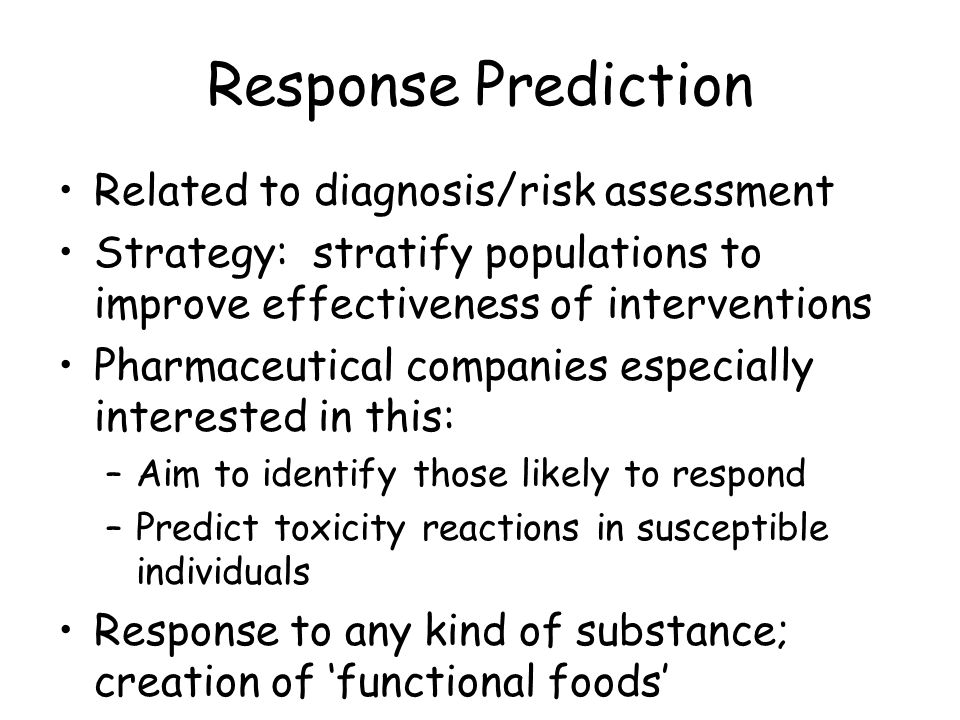 Response Prediction Related to diagnosis/risk assessment