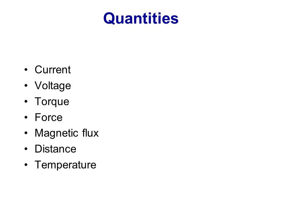Quantities Current Voltage Torque Force Magnetic flux Distance