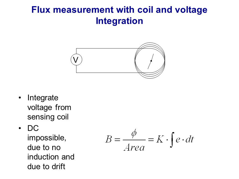 Flux measurement with coil and voltage Integration