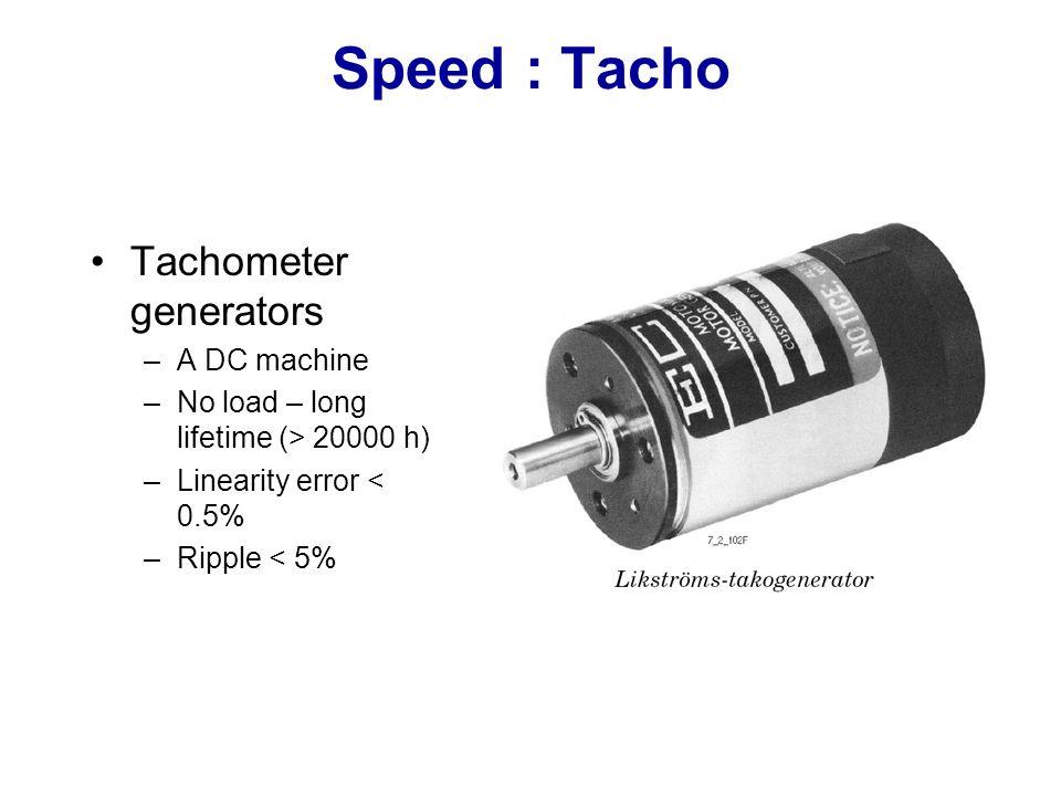 Speed : Tacho Tachometer generators A DC machine