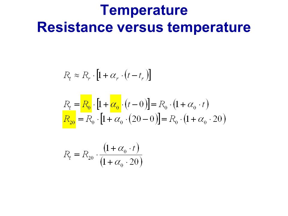 Temperature Resistance versus temperature