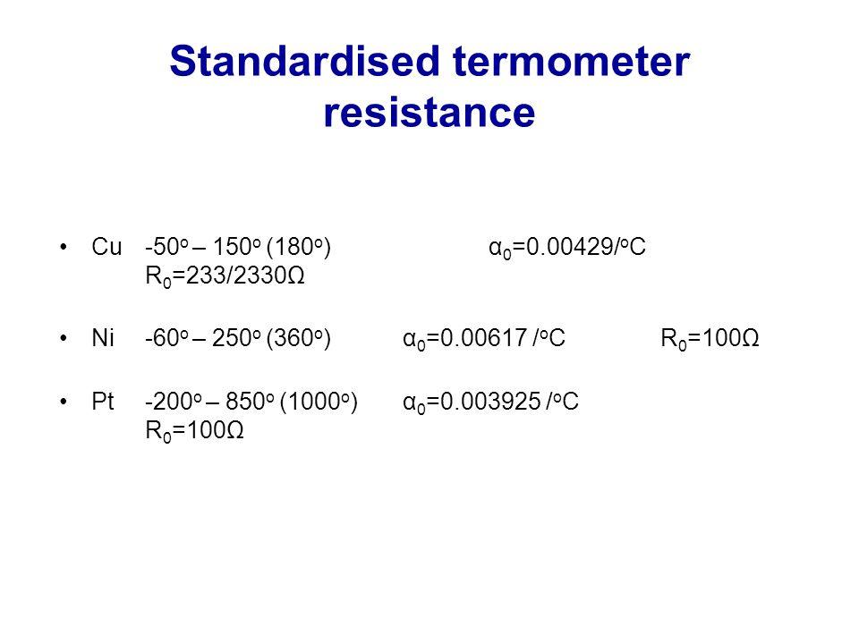 Standardised termometer resistance