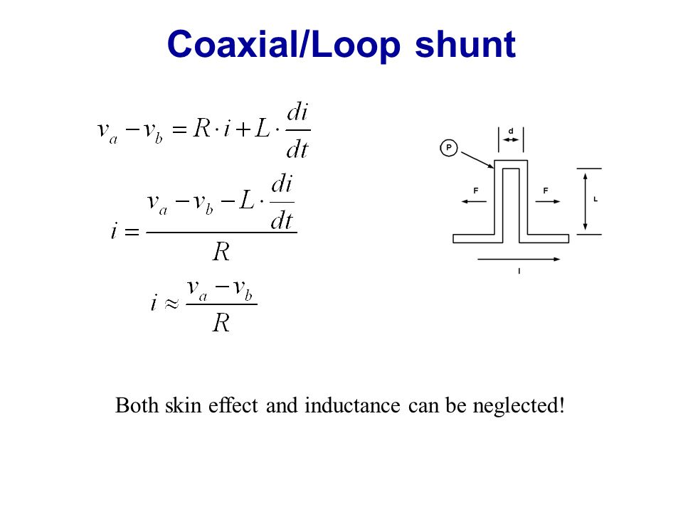 Coaxial/Loop shunt Both skin effect and inductance can be neglected!