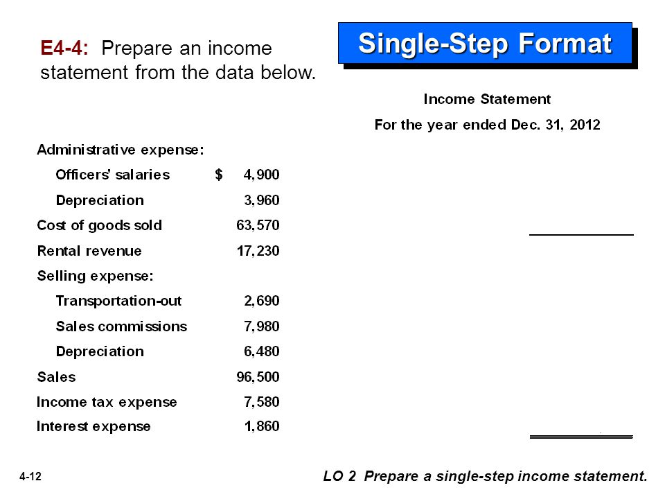 Single-Step Format E4-4: Prepare an income statement from the data below.