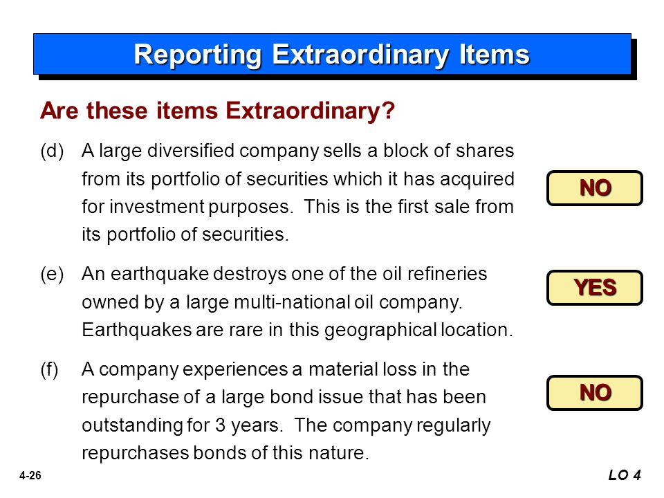 Reporting Extraordinary Items