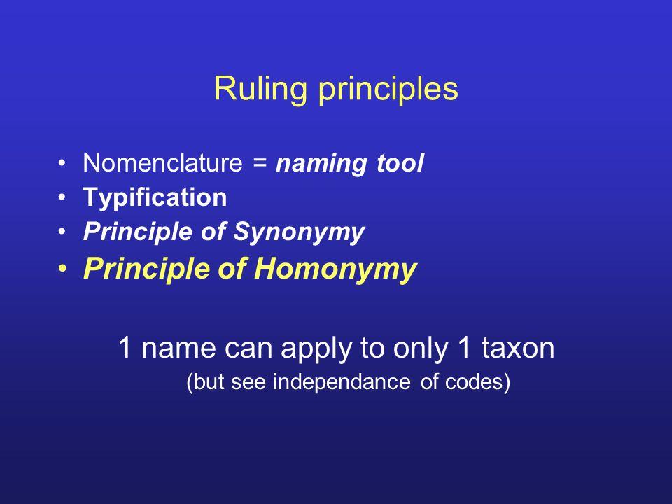 Ruling principles Principle of Homonymy