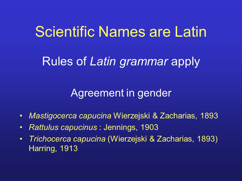 Scientific Names are Latin