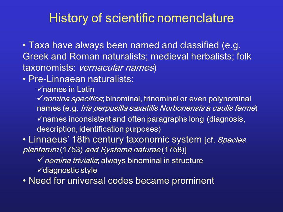 History of scientific nomenclature