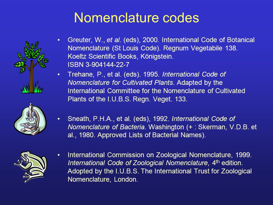 Nomenclature codes