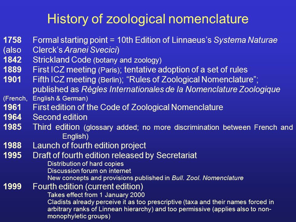 History of zoological nomenclature