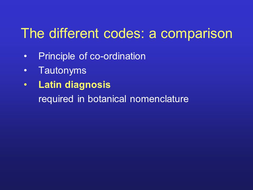 The different codes: a comparison