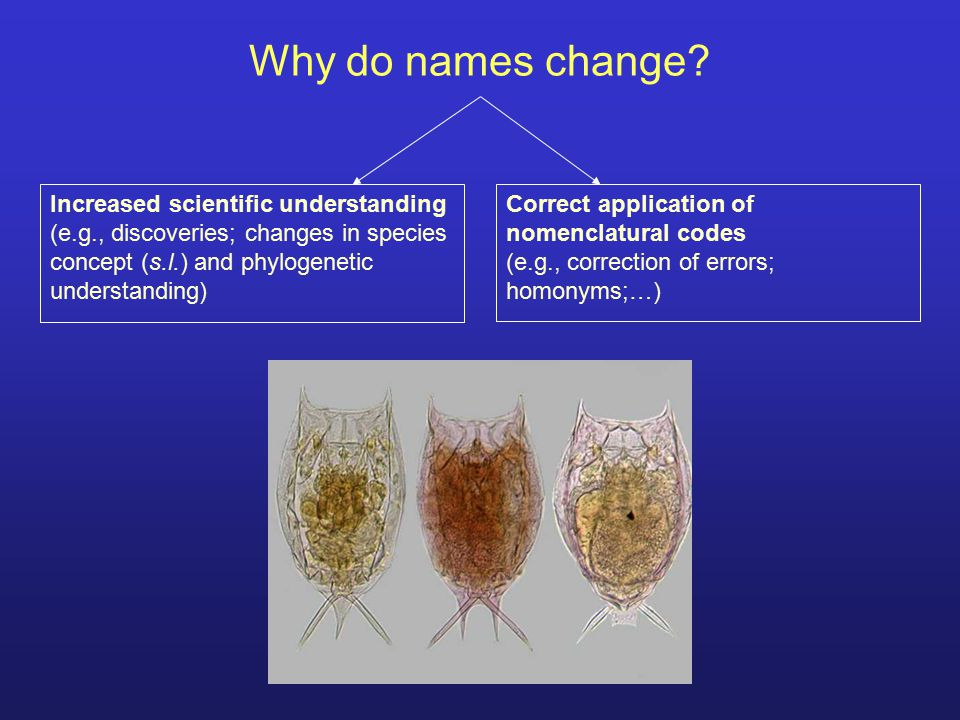 Why do names change Increased scientific understanding
