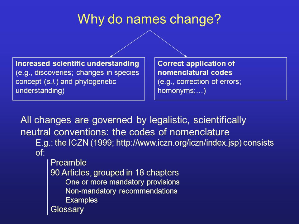Why do names change Increased scientific understanding. (e.g., discoveries; changes in species concept (s.l.) and phylogenetic understanding)