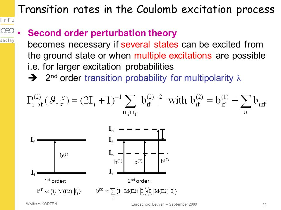 Transition rates in the Coulomb excitation process