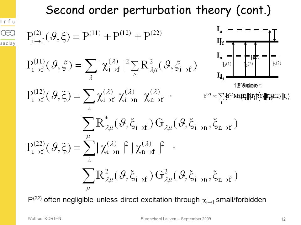 Second order perturbation theory (cont.)