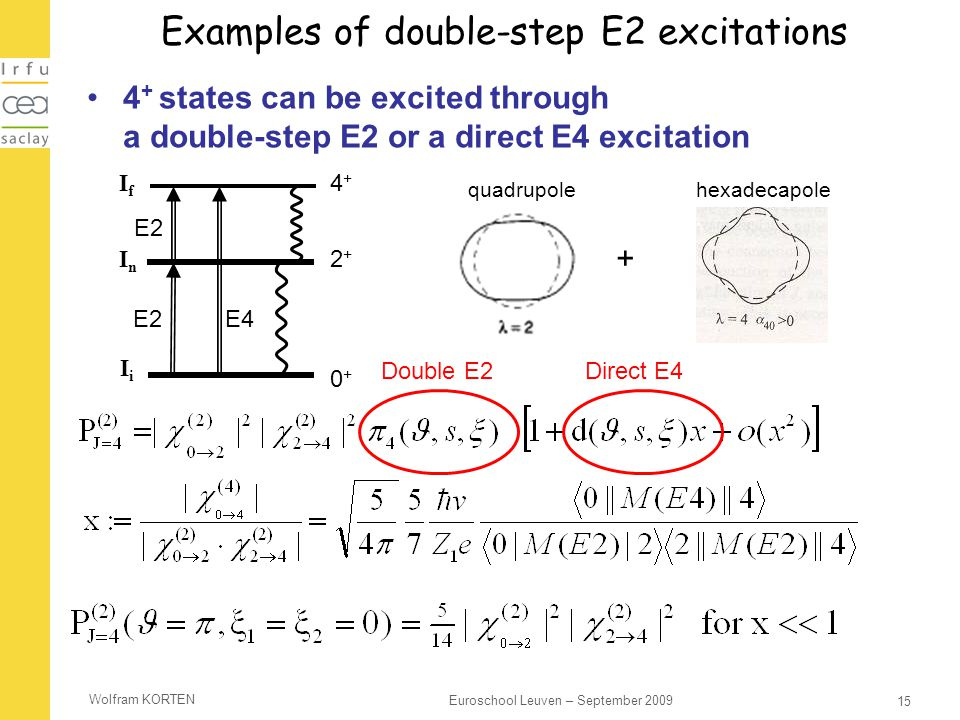 Examples of double-step E2 excitations