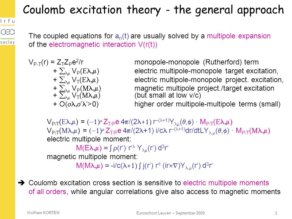 Coulomb excitation theory - the general approach