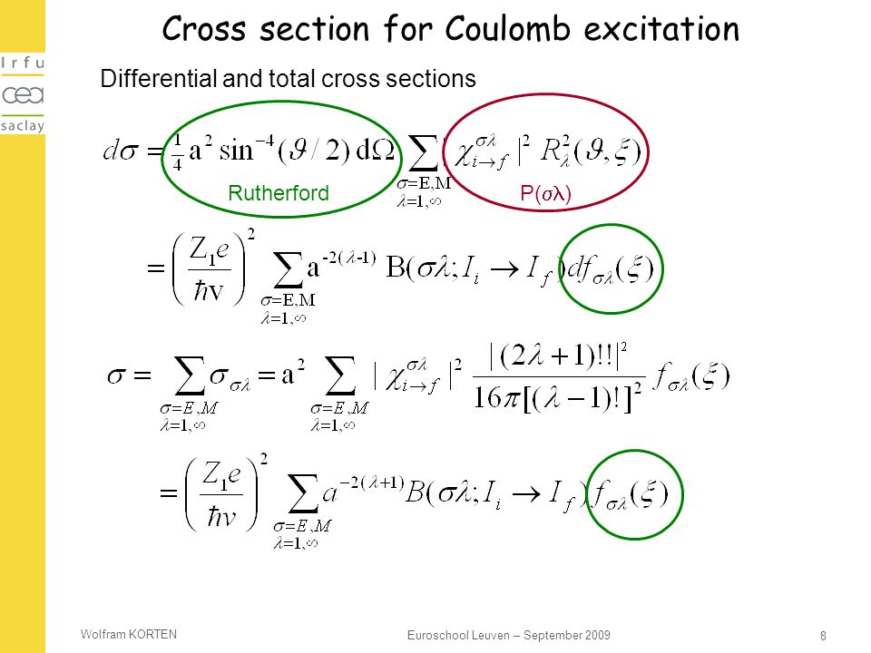 Cross section for Coulomb excitation