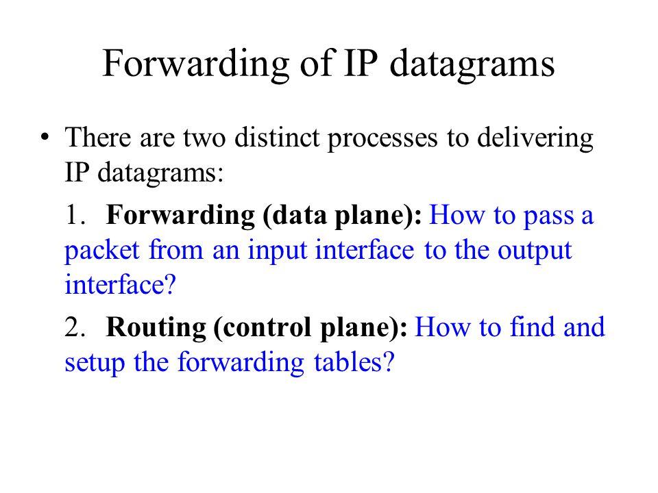 Forwarding of IP datagrams