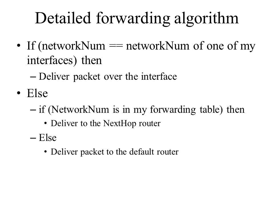 Detailed forwarding algorithm