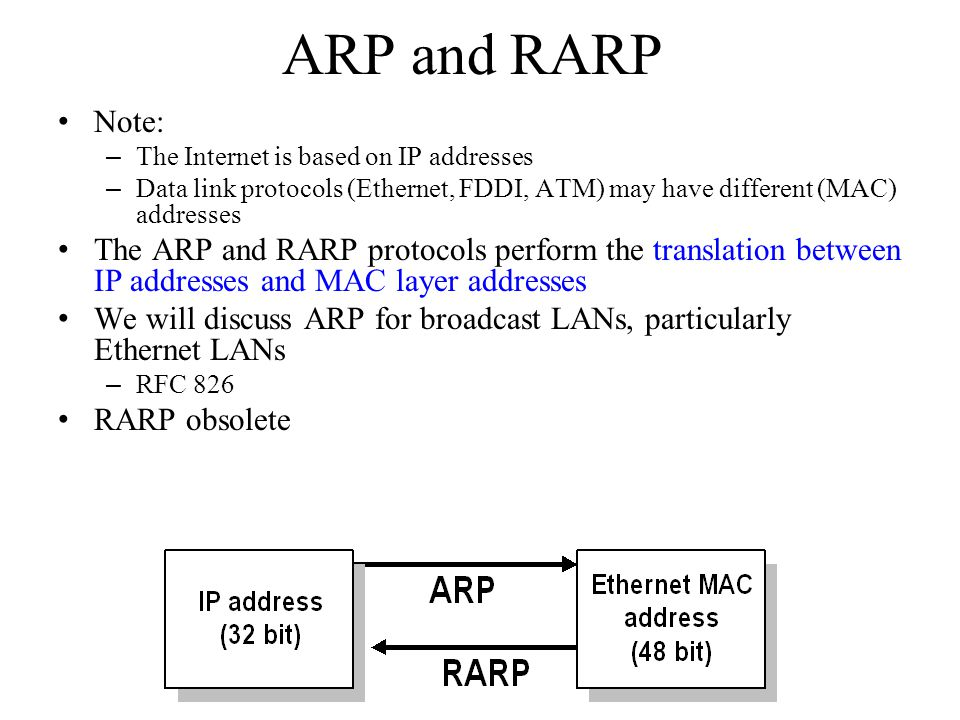 ARP and RARP Note: The Internet is based on IP addresses. Data link protocols (Ethernet, FDDI, ATM) may have different (MAC) addresses.