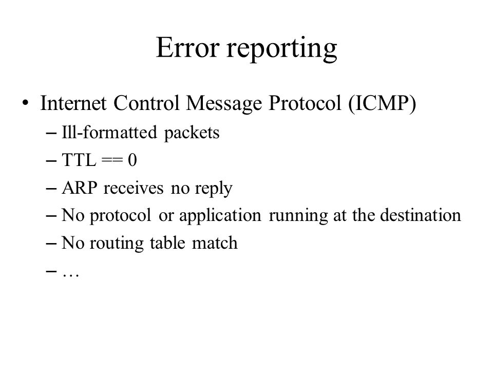 Error reporting Internet Control Message Protocol (ICMP)
