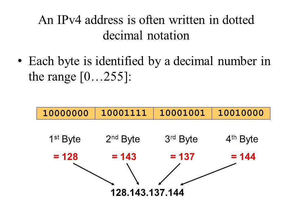 An IPv4 address is often written in dotted decimal notation