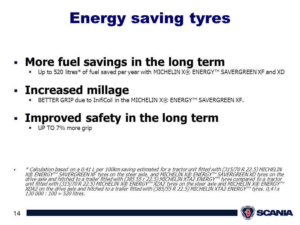 Energy saving tyres More fuel savings in the long term