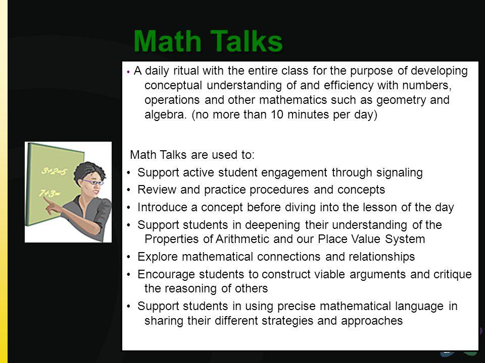 Math Talks Math Talks are used to: