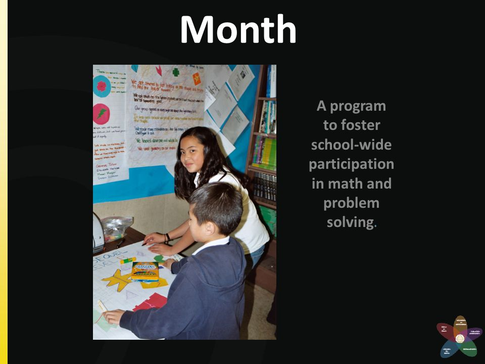 Problems of the Month A program to foster school-wide participation in math and problem solving.