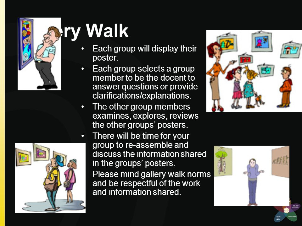 discuss explanations of group displays as From lecture, or to name the processes and concepts shown also works well as   think about the problem before you go on to explain  variation: a group of  students writes a series of questions as homework and leads the.