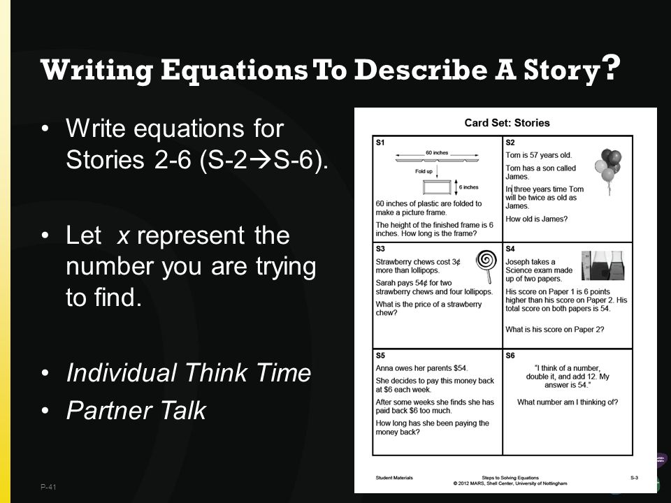Writing Equations To Describe A Story