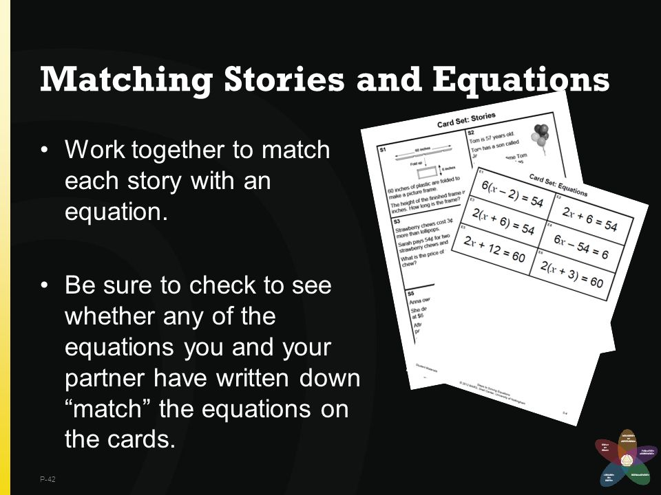 Matching Stories and Equations