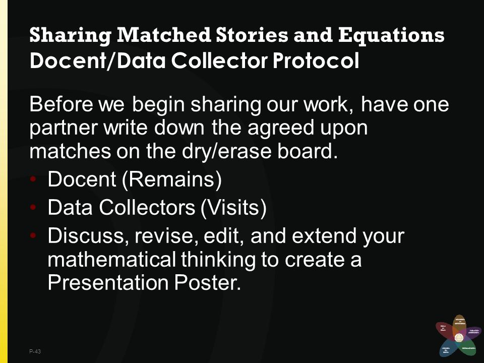 Sharing Matched Stories and Equations Docent/Data Collector Protocol