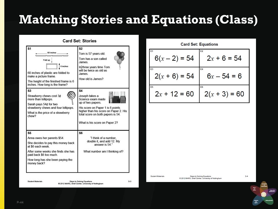 Matching Stories and Equations (Class)