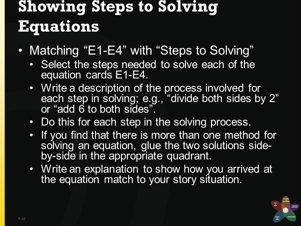Showing Steps to Solving Equations